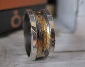 Rustic Mens Wedding Band Oxidized Sterling Silver with 14k and 18k Gold 10 mm Width Artisan Organic Ring