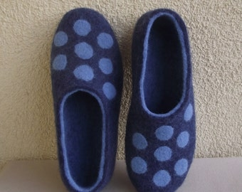 Handmade felted slippers made from pure wool.