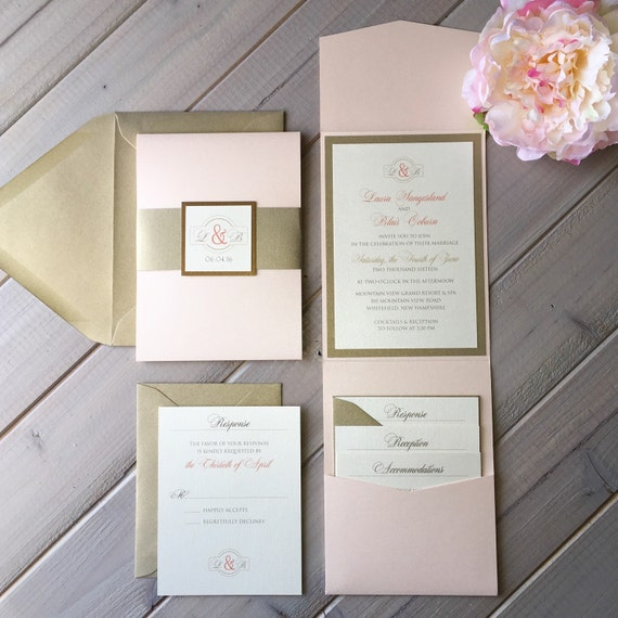 Blush Pink And Light Gold Wedding Invitations Pink Gold And