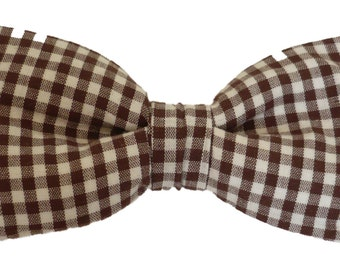 Papillon man and white checked brown, hand-stitched