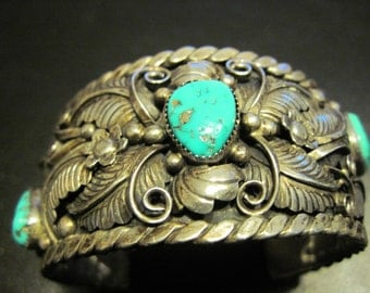 Detailed Turquoise Bracelet - signed by maker!!!