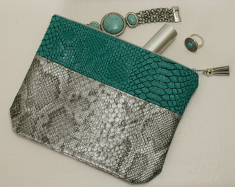 "Faux Croc green/gray cover model ""CELINA"""