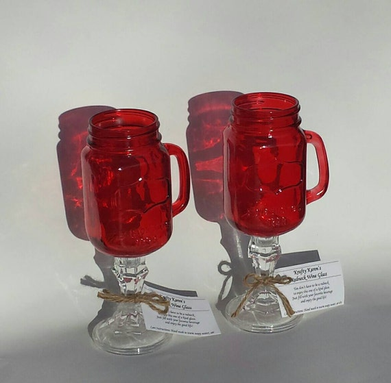 Red Redneck Wine Glasses Set Of 2 Colored Mason Jar Rustic