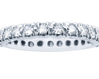 14k White Gold Diamond Eternity Band Set With Round Cut Diamonds 1.00ct