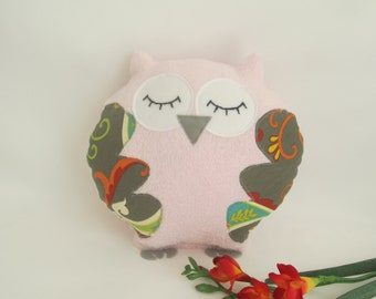 Pink Plush Owl, Pink and Gray Owl, Baby Pillow, Decor Owl, Owl Pillow, Owl Decor, Baby Pillow, Home Decor, Baby Girl Gift, Pink and Gray Owl