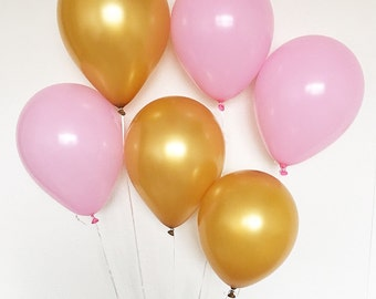 Pink and Gold Latex Balloons Pink Balloons Gold Balloons Pink and Gold First Birthday Pink and Gold Party Pink and Gold Pink Party Gold Part