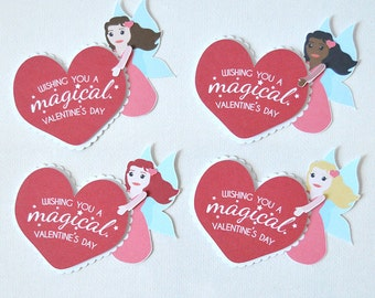 Mini Fairy Valentine's Cards Set of 12: fairies and sparkles heart cards, ruffles and magic, mystical, wishing you a magical day - LRD005V