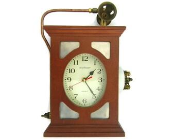 Quartz mantle clock etsy - Steampunk mantle clock ...