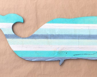 Rustic Wooden Whale in Sea Blues