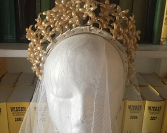 Stunning 1930s vintage wax flower bridal tiara headpiece crown