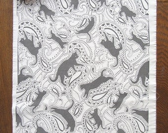 Cat Paisley Print on Cotton Fabric in black and white
