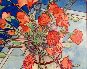 ORANGE CHRYSANTHEMUMS, 1984, 40 x 30 inches, acrylic on canvas