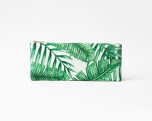 Palm leaves, organic cotton pencil-case, zipper pouch, white and green, exotic print organic fabric, jungle pencil pouch, back to school