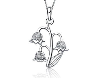 Alpha Epsilon Phi Necklace - Lily of the Valley Design, Sterling Silver (M008)