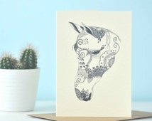 Illustrated 'Aśvaḥ - Gracious Horse' A6 blank greetings card **10% profit goes to Indian charity**