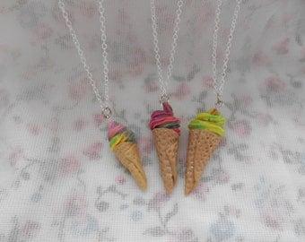Rainbow icecream in waffle cone sundae necklace.