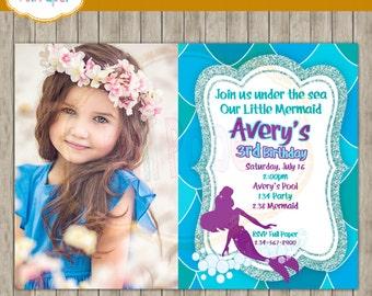 Mermaid Invitation Princess-Mermaid Under The Sea-Pool Party invite-Beach Invitation-Ocean party-Birthday Party-Mermaid Party-Photo