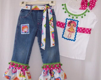 Custom boutique girls Lalaloopsy jeans & ribbon shirt all sizes available