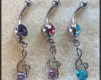 14g Treble Clef Dangling Belly Button Rings! Body Jewelry - Navel Rings