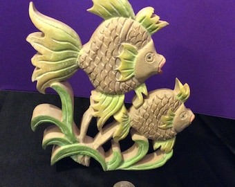 Wooden Carved Tropical Fish Wall Hanging