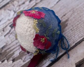 Newborn bonnet, Lace, Bonnet, Baby girl, Photo Prop, Dark blue, Vintage