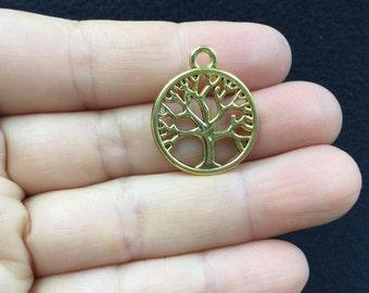 8pcs Filigree Tree  Round Antique Gold Charm
