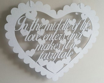 Scalloped Heart Wooden Sign