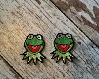 READY TO SHIP!!! Kermit The Frog Muppets Inspired Embroidered Iron On Patch - Set of 2! Ready to ship!