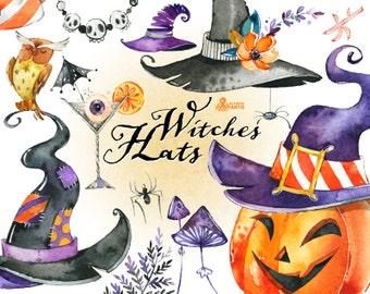 Witches Hats. Watercolor Halloween clipart, handpainted, pumpkin, cocktail, mushrooms, purple, flowers, skulls, spyder, invite, diy