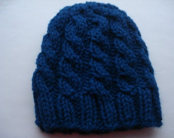 NewbornKnit HatforBabyBoy,Cable Knit Hat,NewbornGift,WinterHat,Multi size Cable Hat,BlueInfantHat,BabyBoy Hat,BabyGirl Hat,Knit Baby Clothes