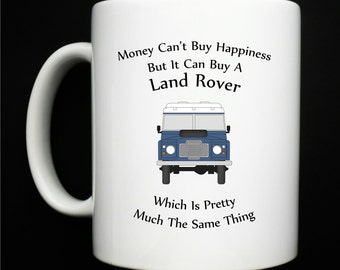 Personalised Land Rover - Money Can't Buy Happiness Mug - Blue - Green - FREE POSTAGE