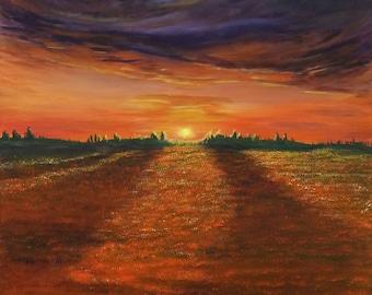 ORIGINAL ART Modern painting - Sunset over fields of gold