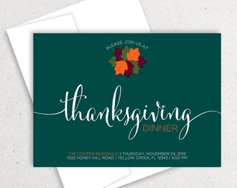 Thanksgiving Dinner, Thanksgiving Invite, Thanksgiving Party, Give Thanks, Fall Leaves, Fall Colors, Fall Invitation, Thanksgiving Feast