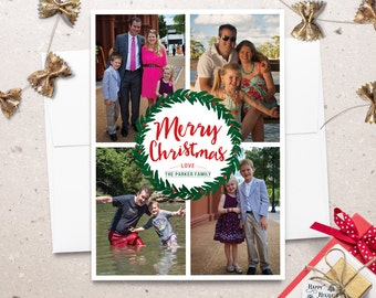 Christmas Wreath, Merry Christmas, Christmas Card, Holiday Card, Christmas Photo Card, Happy Holidays, Personalized, Holiday Greetings