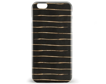 1399 // Black and Gold Stripes Phone Case iPhone 5/5S, 6/6S, 6+/6S+ Samsung Galaxy S5, S6, S6 Edge Plus, S7