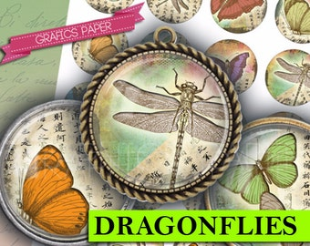 """Digital collage sheet, Butterfly Dragonflies INSTANT DOWNLOAD  1.5"""", 1.25"""", 30mm, 1 inch, Printable Bottle Cap Images glass cabochon - td330"""