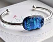 Electric Blue bangle // fused turquoise fibroid dichroic glass bracelet // cuff bracelet