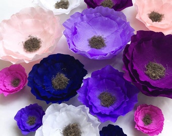 Crepe paper flowers- Wedding flowers-Giant Paper Flowers -Boho paper Flowers- Boho Party Deco-Nursery Decorations-Wedding decor-Party decor