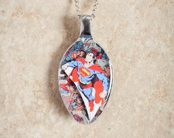 Superman on DC Comics 3D Upcycled Spoon Necklace or Keychain