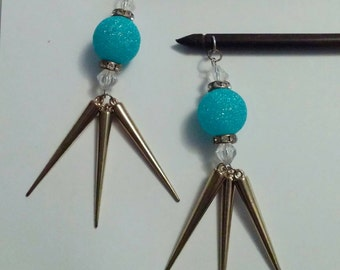 Blue Sparkle and Gold Spike Beaded Hair Stick Jewelry