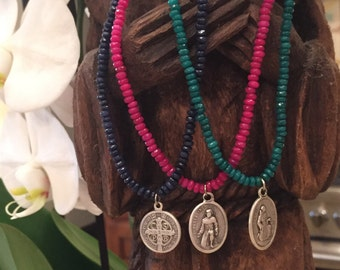 Magenta jade necklace with St. Peregrine