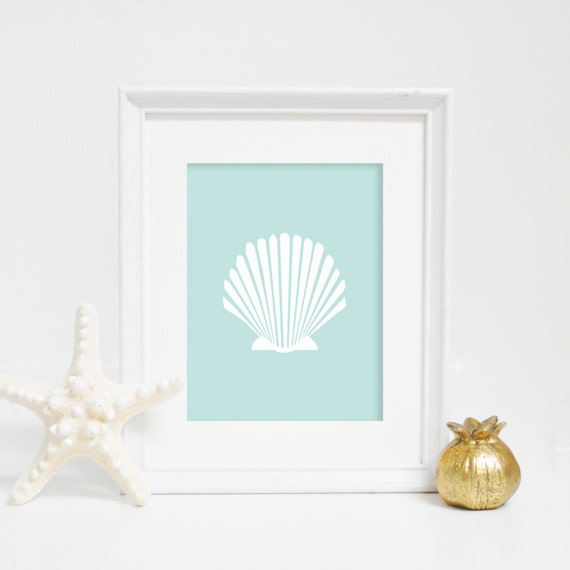 Beach Wall Art, Mint Nursery, Shell Print, Sea Shell Wall Art, Scallop Print, Seashell Print, Beach Home Decor, Nautical Wall Art