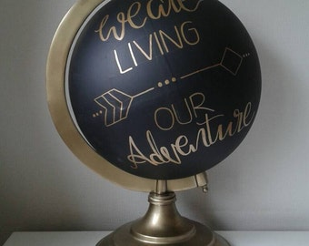 """12"""" Large Globe - Hand Painted Globe with names and phrases. Wedding Guest Book"""