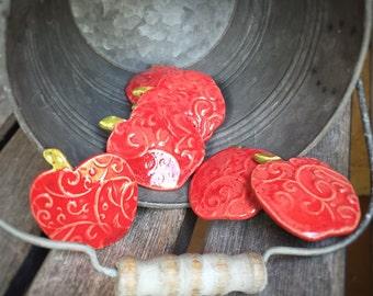 Handmade Ceramic Apple Magnet   Stoneware Red Apple   Teacher Appreciation Gift   Rustic Ceramic Magnets   Pottery Apple Magnets