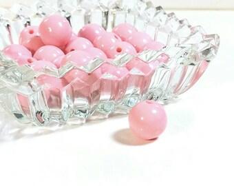 Vintage 1960s Bubblegum Pink Round Plastic Beads