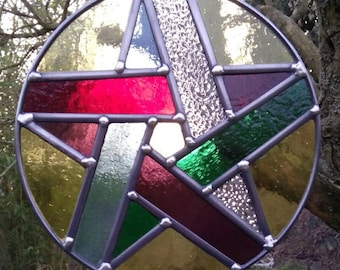 Stained Glass Woven Pentacle - all year garden tree ornament - or indoors decoration / sun catcher