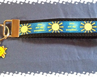 1 Inch Wide You Are My Sunshine Pattern Key Fob and Charm