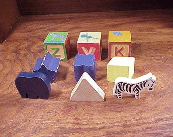 Lot of 9 Various Wooden Children's Toy Blocks, for Craft Projects