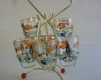 Retro 1950s 'Atomic' French Glass Shot Glass Set and wire caddy.