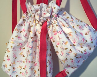 Ballet bags - drawstring, fully lined.  Matching items available.